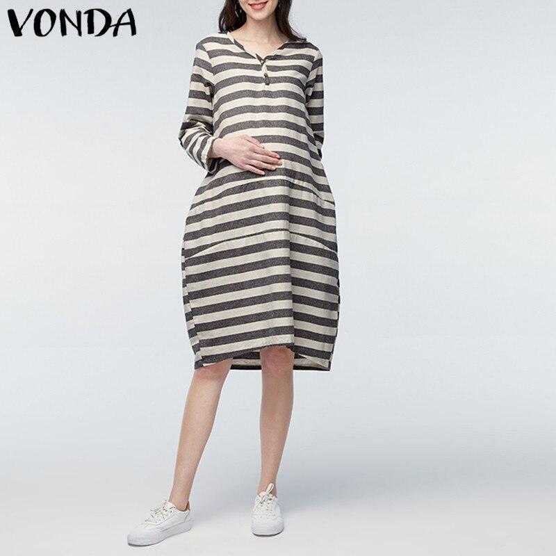 VONDA Pregnancy Clothings 2018 Pregnant Women Casual Loose Mid-calf Dress Long Sleeve V Neck Vintage Striped Maternity Vestidos