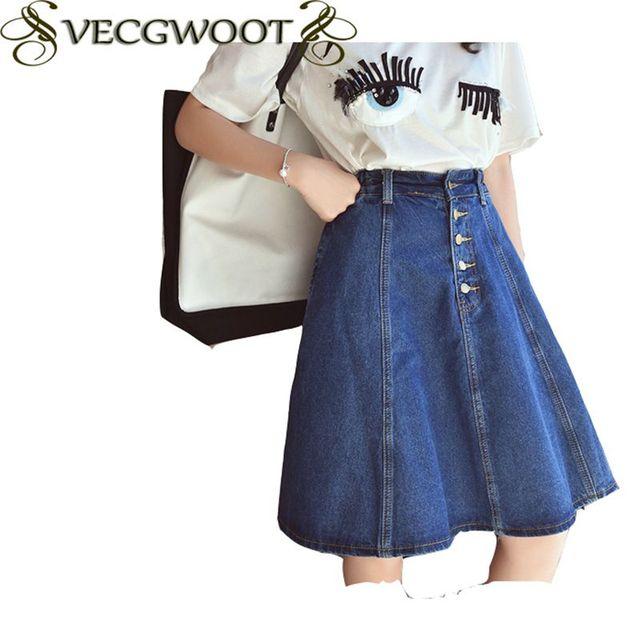 86b740f0d 2019 nueva moda verano mezclilla abajo falda de la rodilla-longitud suelto  tamaño Casual de