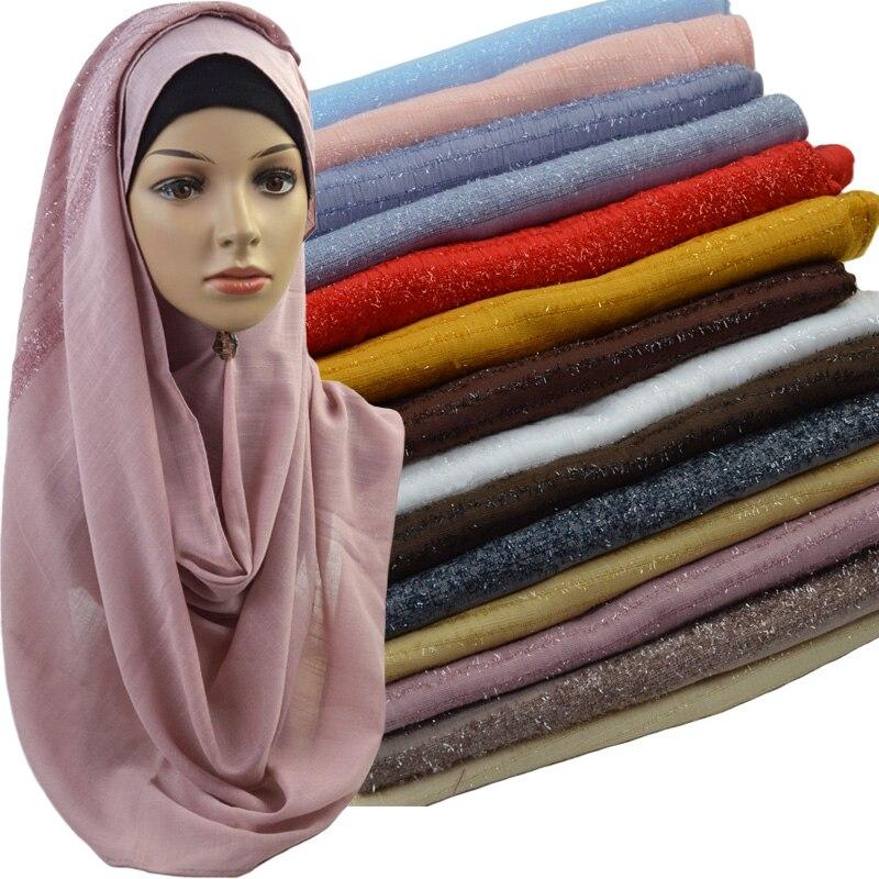 High Quality Glitter Plain Cotton Scarf Msulim Hijab Fashion Headwrap Solid Color Muslim Shawls Scarves 10PCS