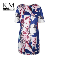 Kissmilk Plus Size New Fashion Women Clothing Basic Streetwear Print Dress Short Sleeve Zipper Big 3XL 4XL 5XL 6XL