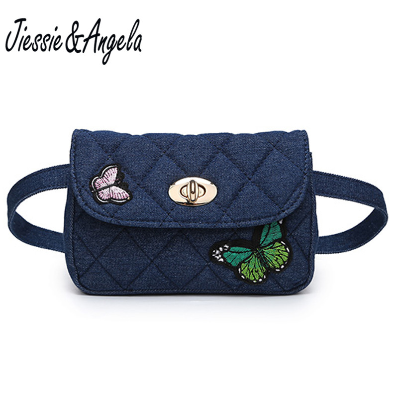 Jiessie & Angela Fashion Denim Waist Bag With butterfly Fanny Pack Women Waist Belt Bag Travel Pouch Bag Bolsa Feminina jiessie