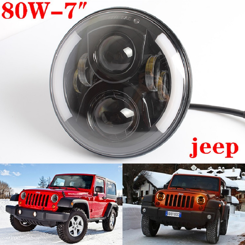 7 Inch Super bright 80W Round Wrangler Long Edition 12 24V LED Headlight Bulb For Jeep