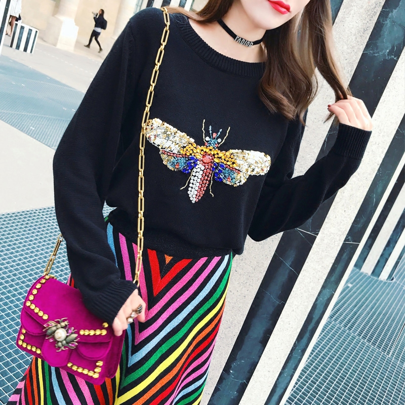 18 Luxury Brand Autumn Winter Black Sweaters and Pullovers Knitted Women Long Sleeve Dragonfly Diamond Jumper Tops Clothes 6