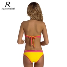 Raintropical Sexy Women Brazilian Bikinis 2019 Swimsuit Girls Hot Bandeau  Swimwear black Vintage Bikini Set Beach Bathing Suit