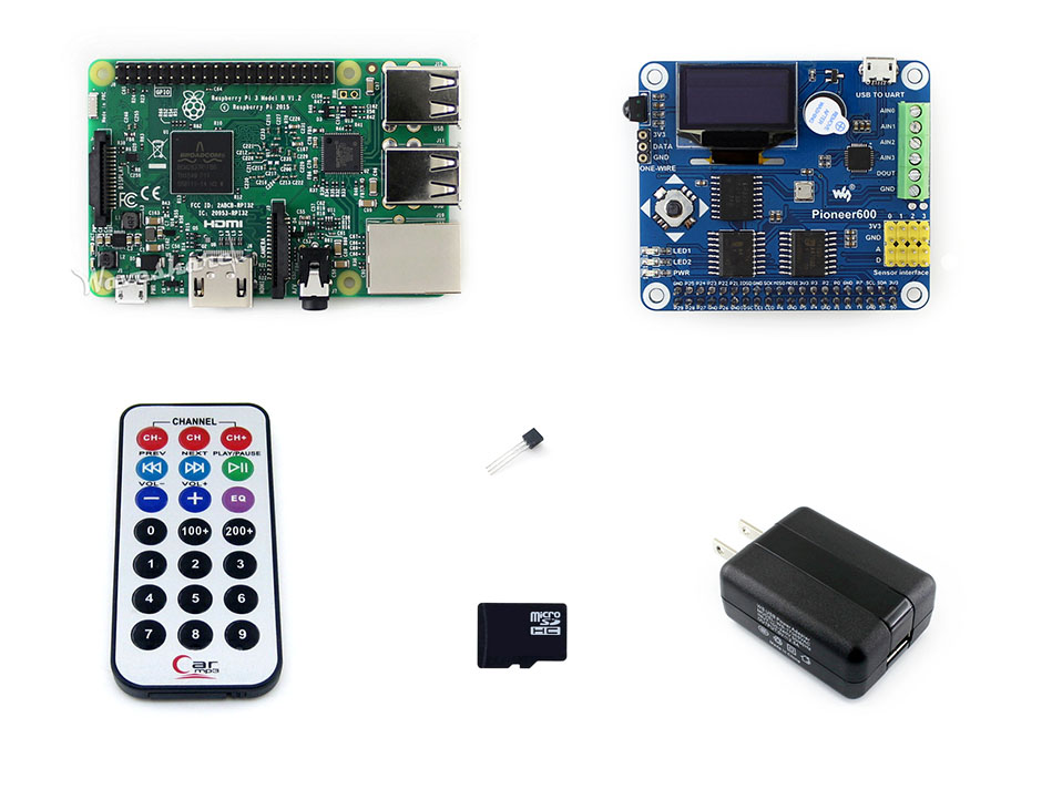 Raspberry Pi 3 Package B=Original Newest Raspberry Pi 3 Model B+Pioneer 600+Micro SD card +IR Controller+Power Adapter цена