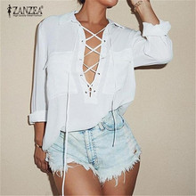 Long Sleeve Chiffon Deep V Front Lace blouse