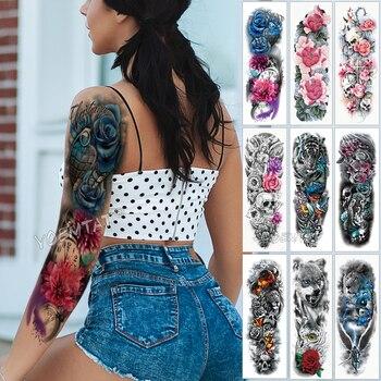 Large Arm Sleeve Tattoo Blue Rose Butterfly Heart Waterproof Temporary Sticker Pocket watch Men Full Flowers Tatoo Women