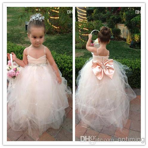 b5441aa2f3c 2017 Lovely Ball Gown Little Girl s Pageant Dresses Back Big Bow Beads  Spaghetti Cheap Flower Girl Dresses For Weddings AF21-in Flower Girl Dresses  from ...