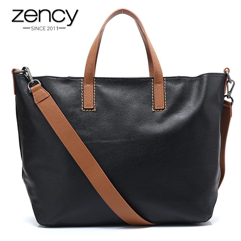 Zency New Style Ladies Casual Tote Real Cow 100% Genuine Leather Vintage Female Messenger Crossbody Bags Fashion Women Handbags