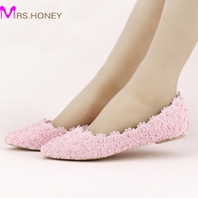 Flat Heels Pearl and Lace Flower Bridal Shoes Pointed Toe Wedding Party Dancing Shoes Beautiful Bridesmaid Shoes Women Flats