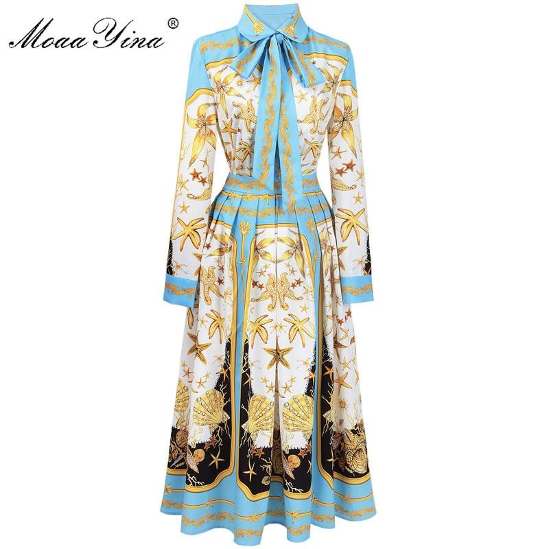 MoaaYina Fashion Designer Runway Set Spring Women Starfish Shell Print Ribbon Casual Holiday Shirt+Beach Pleated Skirt Set