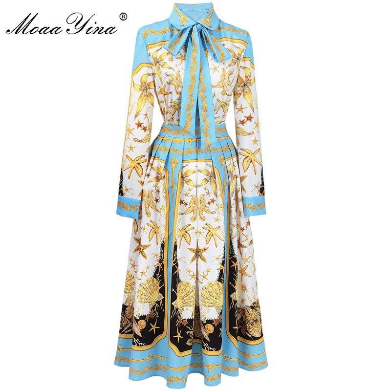 MoaaYina модельер взлетно посадочной полосы комплект весна для женщин Морская звезда в виде ракушки печати ленты повседневное праздник рубашк