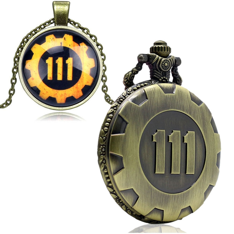 Fashion Game Fallout 4 Vault 111  Pocket Watch with 111 Theme Glass Dome Pendant Necklace Pocket Clock Best Gift Sets Box Chain 2018 (46)