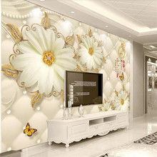 Home and rich European gorgeous golden flower jewelry background wall decoration painting wallpaper mural photo