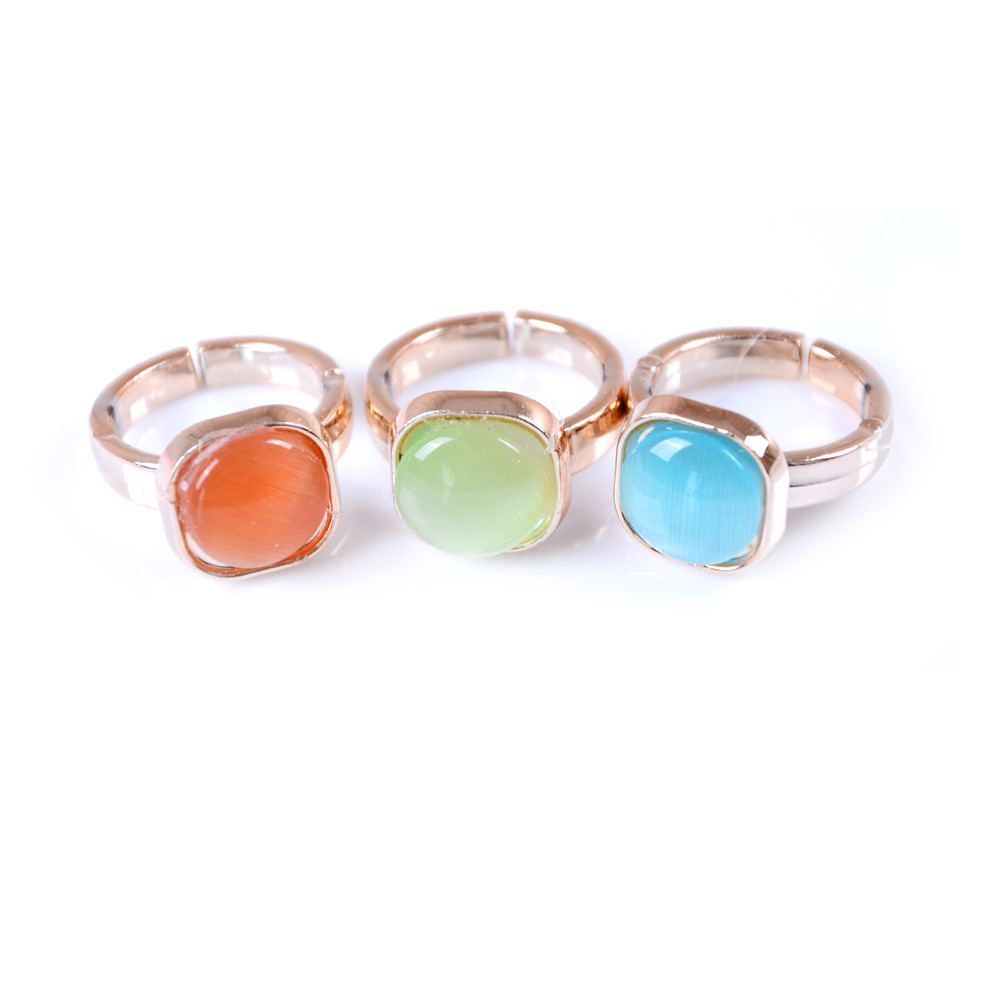 10 Pcs/ Lot Pinksee Mixed Colors Square Acrylic Crystal Adjustable Rings For Childrens Fashion Kids Jewelry Gifts