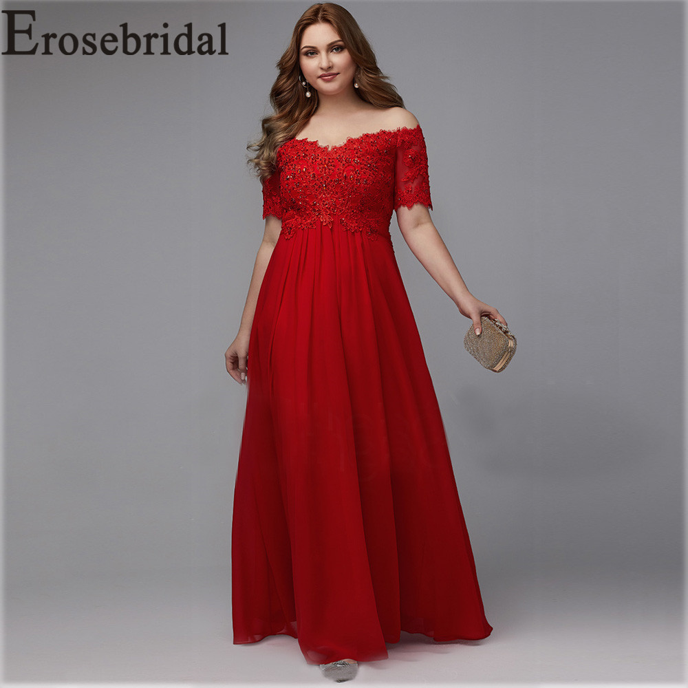 Elegant Formal Dresses Evening Gown Plus Size Long Evening Dress 2019 Red Elegant Party Gown Short Sleeve Robe Soiree