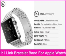 Hoco original 1:1 enlace pulsera correas para apple watch 38mm 42mm hecho por el acero inoxidable 316l con adaptadores de metal original