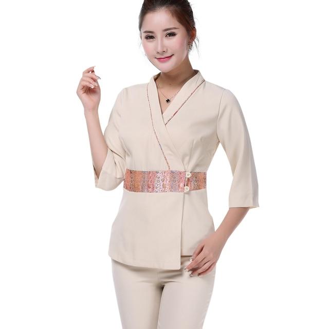 Free shipping elegant beautician surgical scrub uniforms for Uniform massage spa