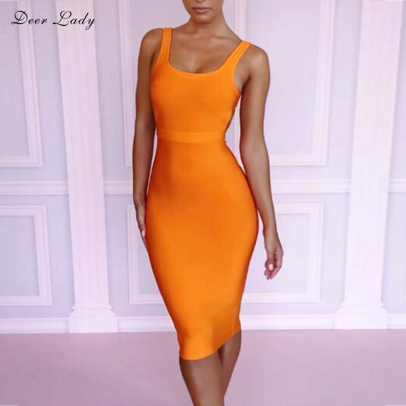 Deer Lady Summer Dress 2018 High Quality Orange Bandage Dress Rayon V Neck Sexy Bodycon Party Dress Backless Wholesale HL