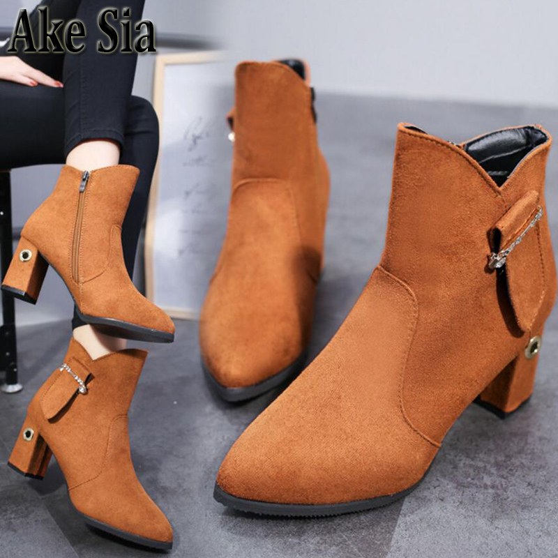 Ake Sia Sext Autumn Winter Fashion Women's Female Warmth Slip-On Snow Bottine Martin Boots Square Heels Shoes Ankle Booties F299 ake sia british winter fashion women warm hairy fluff slip on snow bottine martin boots increased with shoes ankle booties f275
