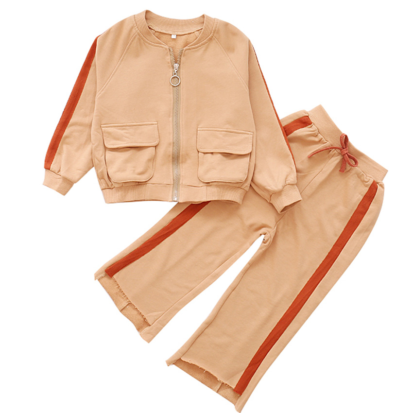 Children Outfits Cotton Clothing Sets For Girls Sports Suits Autumn Casual Coats & Wide Leg Pants 2Pcs School Kids Tracksuits 2017 kids clothing sets for girls striped print sports suits girls tracksuits cotton casual sportswear children outfits 13 14 t