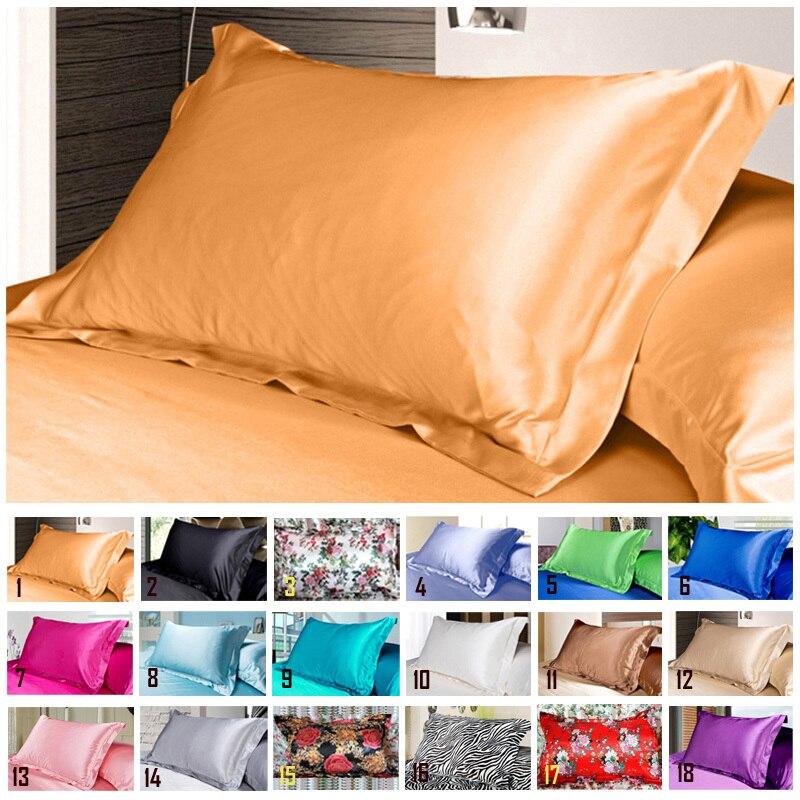 1pc Pure Emulation Silk Satin Pillowcase Single Pillow Cover Multicolor 48*74cm