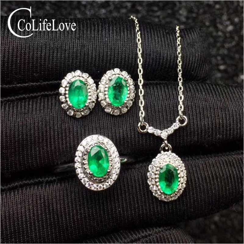 Classic emerald jewelry set for evening party real natural emerald earrings ring pendant set 925 silver emerald fine jewelry classic 10 75ct nano russian emerald ring emerald cut solid 925 sterling silver ring set best brand fine jewelry for women