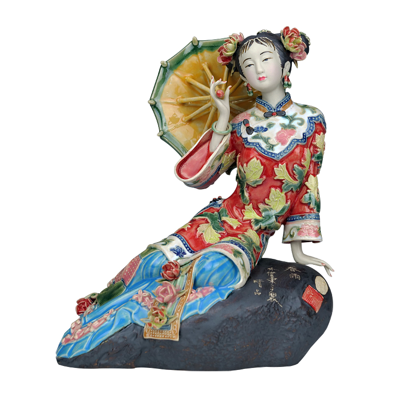 Chinese Beauty Porcelain Art Antiques Figurines Angel Collectible Pottery Glaze Ceramic Dolls Home Craft Decor Wedding L3393