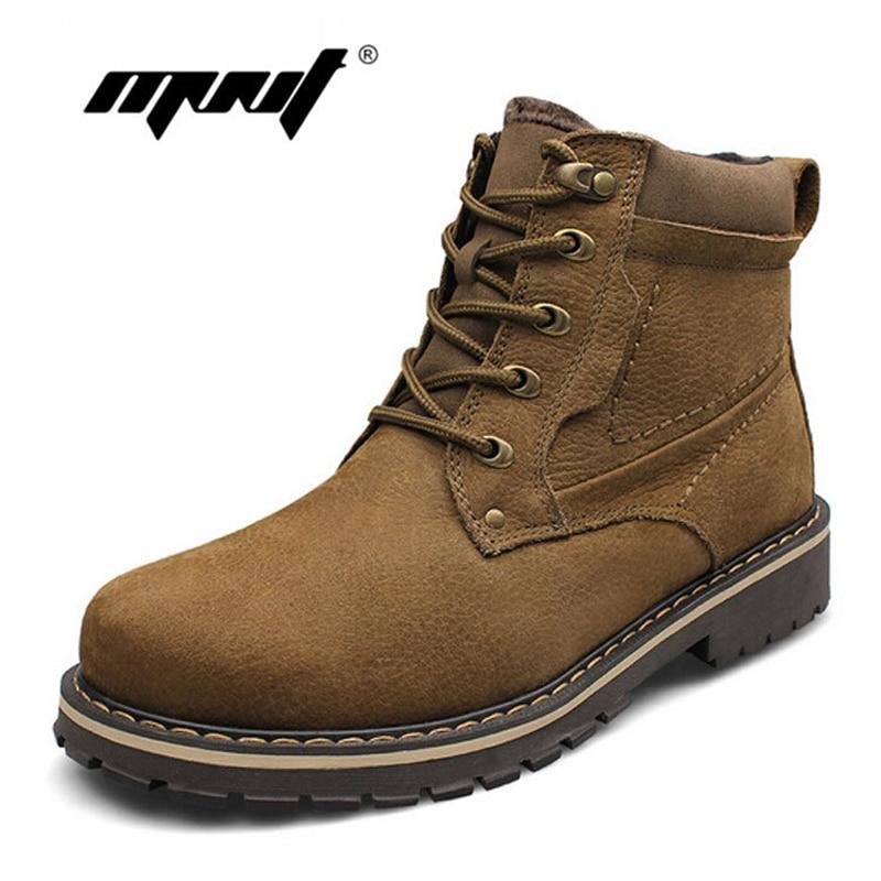 Лидер продаж Мужские ботинки очень теплые зимние сапоги из 100% натуральной кожи плюс Размеры Водонепроницаемый резиновая зимняя обувь
