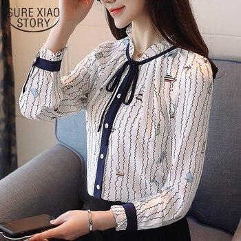 69fbd3959f6 2018 Новые весенние туфли шифон рубашки с длинными рукавами блузки с бантом  одежда офис леди сладкий блузки женские топы D457 30