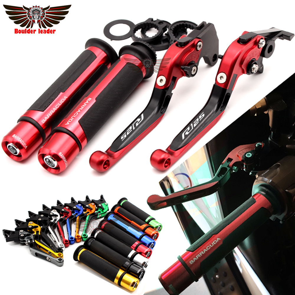 For YAMAHA YZFR125 YZF R125 2008-2011 2009 2010 Motorcycle Adjustable Folding Brake Clutch Levers Handlebar Hand Grips with logo yzf r1 for yamaha yzf r1 1999 2000 2001 motorcycle adjustable folding brake clutch levers handlebar hand grips
