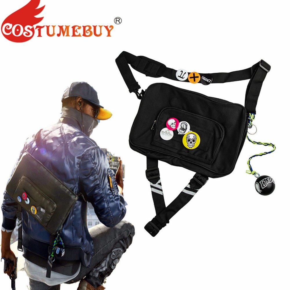 CostumeBuy Game Watch Dogs 2 Marcus Holloway Cosplay Bag Unisex Watch Dog Shoulder Cross Bag With Decoration Ball Props L920