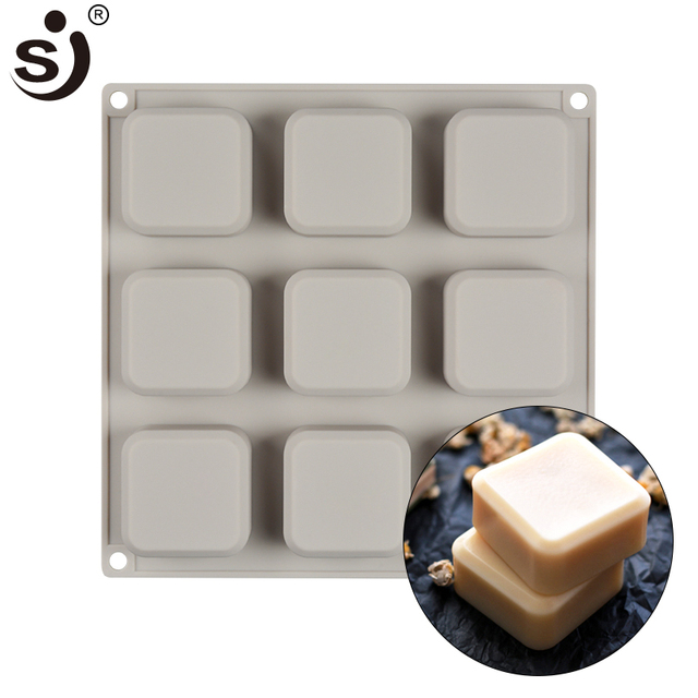 Sj Brand Handmade Silicone Molds 9 Cavity Mold Fda Safe Bakeware Square Soap Maker Baking Tools For Cakes Bread Liances