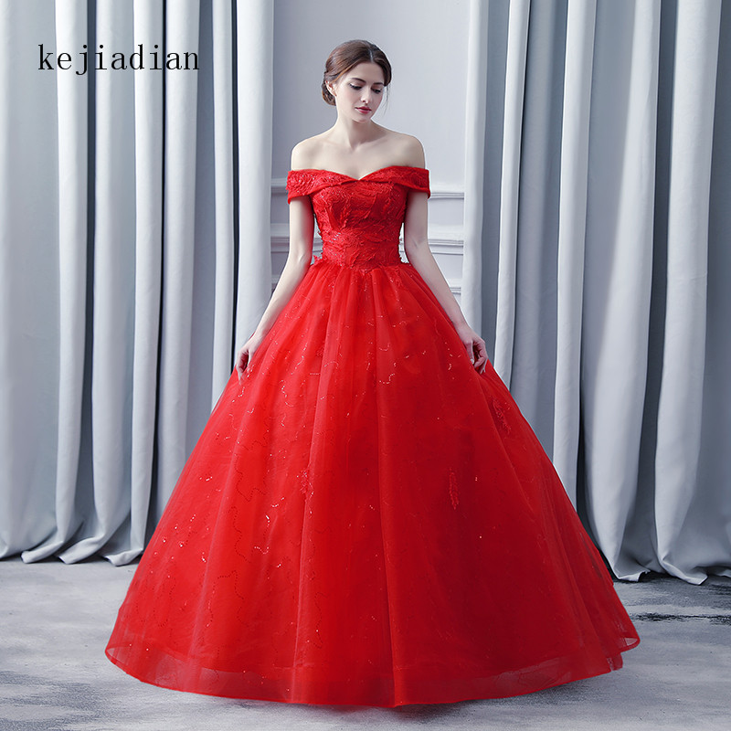 2018 Vintgae  V-neck Ball Gowns red Wedding Dresses sexy Plus size Lace Appliques wedding gown Real Image Vestido De Noiva