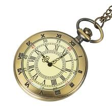 Roman digital vintage gold glass necklace pocket watch with quartz cover