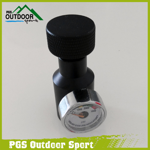 Paintball Co2 Adaptor Isi Udara Terkompresi Remote On / Off Asa Adapter w / 1500 / 3000psi Gauge