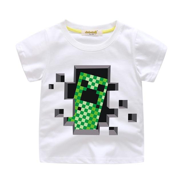 eb042680e7c96 Baby 3D Cartoon Minecraft Tee Tops Clothes Boy Girls Cute Cartoon T-shirt  Clothing Children Summer Short T Shirt Costume ZN8