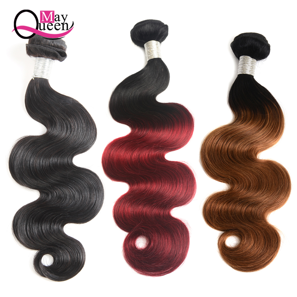 May Queen Hair Brazilian Hair Weave Bundles Body Wave Ombre Hair Bundles Natural Black C ...