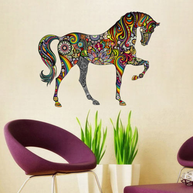 colorful horse flower wall decals removable rainbow design wall