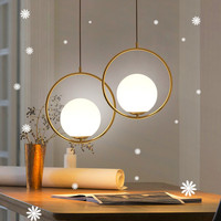 Nordic Pendant Light Gold Frame Glass Bubble Hanging Lamp Milk White Glass Lampshade For Lobby Dining Room Kitchen Restaurant