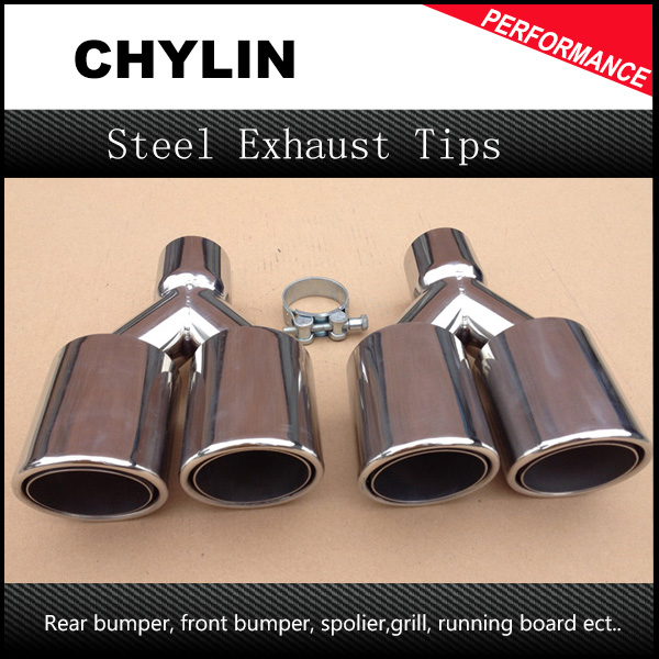 1pair inlet 66mm outlet 89mm chrome stainless steel 1 to 2 car dual tip pipe exhaust muffler tail rear pipe