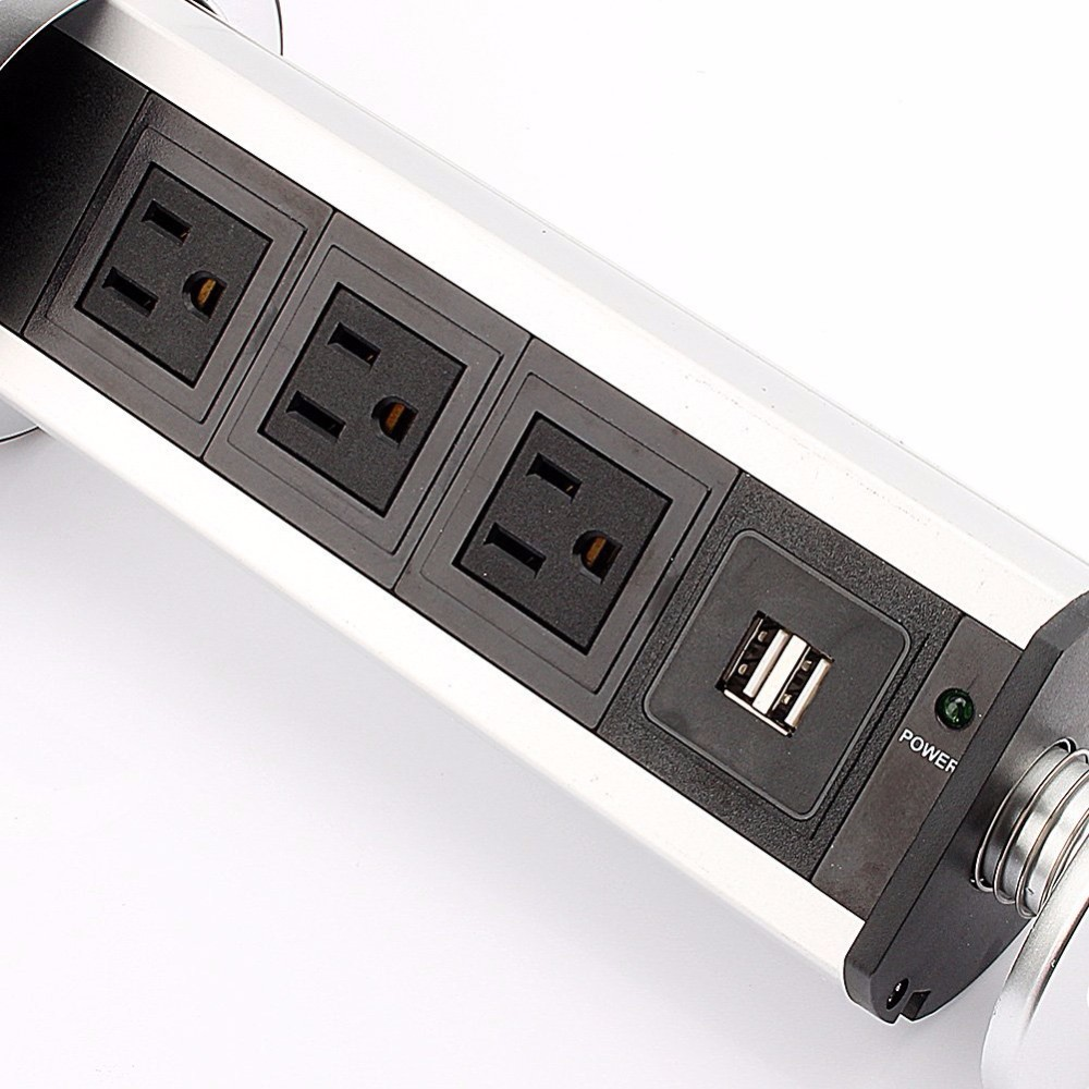 EU/UK/USA/AU plug PULL POP UP Electrical 3 Plug Socket 2 USB Outlet ...