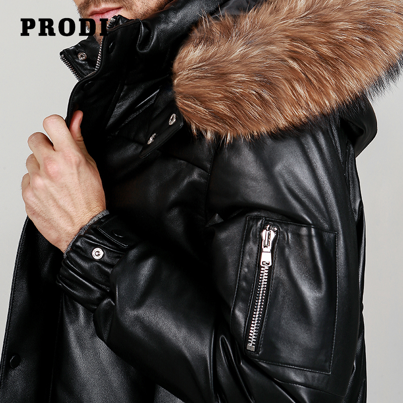 US $512 0 |PRODI Men's genuine Lambskin Leather down Jacket with Natural  Racoon Along the Edge of Cap PD1607-in Genuine Leather Coats from Men's