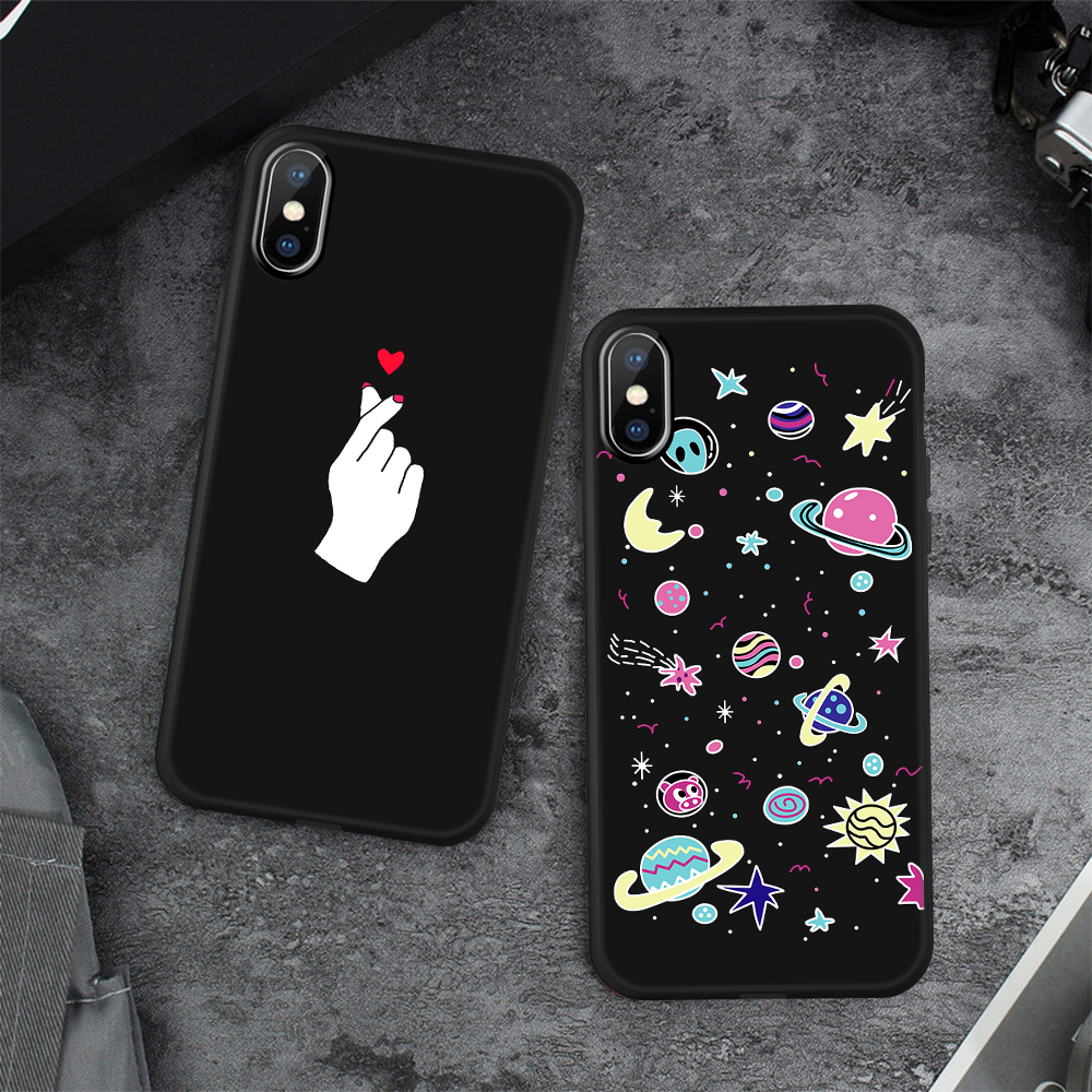 HTB1vl2Kc6fguuRjSspaq6yXVXXa2 - Animal Love Heart Soft TPU Silicone Cases for iPhone 5 S SE X Phone Case For iPhone 6s 6 7 8 Plus XS Max XR Coque Frosted Fundas