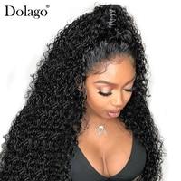 Предварительно сорвал бесклеевого натуральные волосы парики для Для женщин 250% плотность бразильский вьющиеся кружева парик с ребенком вол