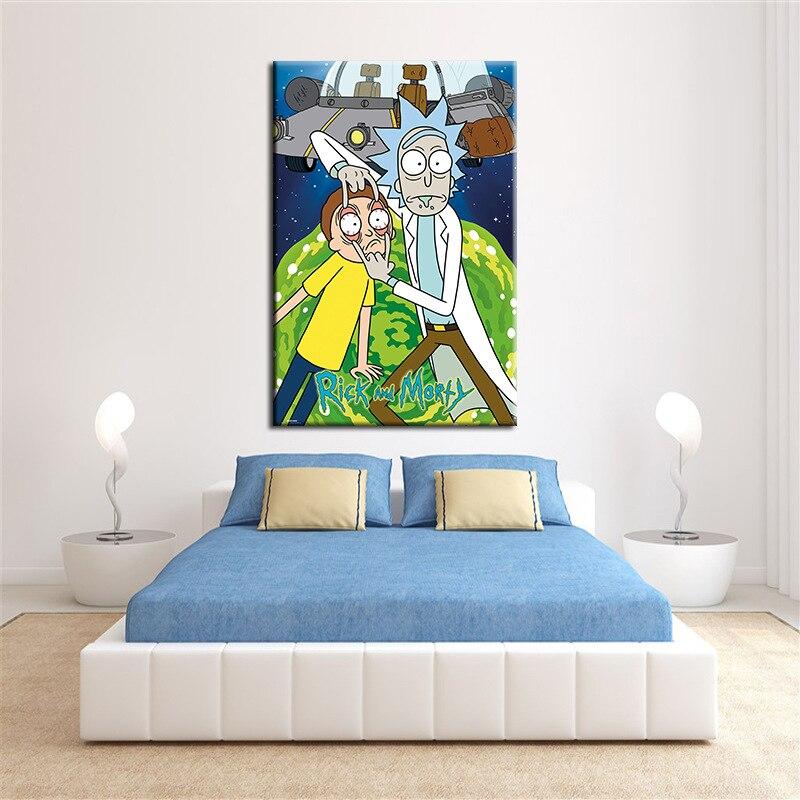 Poster Rick Und Morty Cartoon Malerei Bild Seide Stoff Druck Wand ...