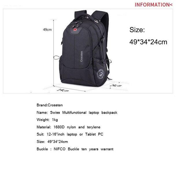 Crossten Swiss Multifunctional External USB Charge Port Laptop Bag Waterproof 16 1