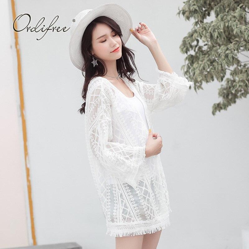 Ordifree 2018 Summer Lace Long Cardigan Long Sleeve Sexy Tassel Thin Beach Cardigan White Lace Blouse Shirt