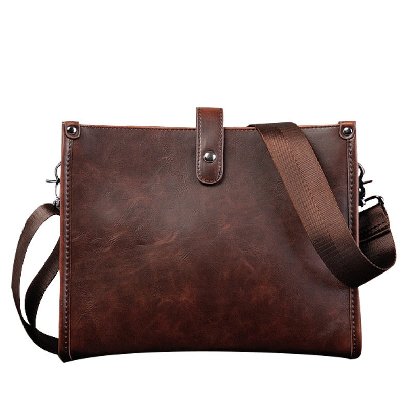 Mens Business Small Bag Cross Section PU Crazy Horse Leather Briefcase Men Single Shoulder Bag Messenger Bags
