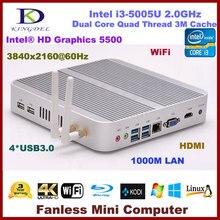 4G RAM+64G SSD Fanless Broadwell Linux Mini PC Intel Core i3 5005U HD5500 micro pc mini computer